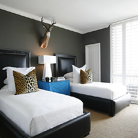 Ashley Goforth Design - boy's rooms - charcoal, gray, walls, black, leather, nailhead trim, twin beds, blue, skirted, nightstand, table, leopard, animal print, pillows, louis, chair, sisal, rug, white, lamp, wood, faux, deer head, leopard print, leopard print pillows, leopard pillows,