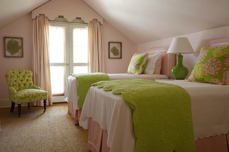 Pink and green girl 39 s bedding traditional girl 39 s room for Pink and green girls bedroom