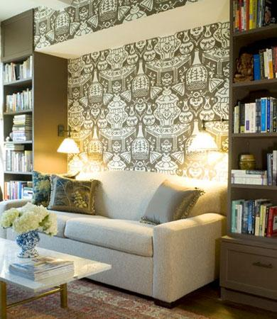 Pappas Miron Interior Design - dens/libraries/offices - office sofa, taupe built ins, taupe built in cabinets, wallpaper accent wall, linen sofa,