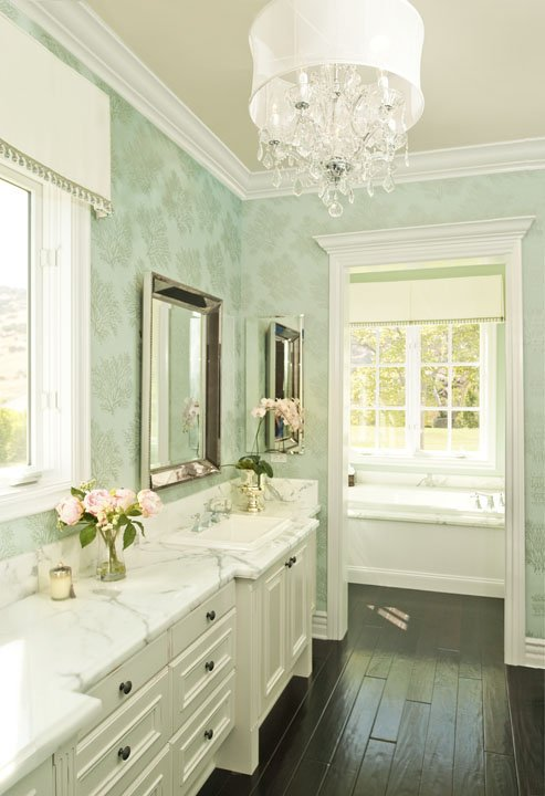 Alexandra Rae Interiors - bathrooms - Restoration Hardware Venetian Beaded Mirror, St. Lucia Wallpaper Metallic on Aqua, green, patterned, wallpaper, white, bathroom, vanity, cabinet, calcutta, marble, countertops, beaded, beveled, mirror, crystal, chandelier, ebony, wood floors,
