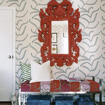 Erinn V Design Group - entrances/foyers - red mirror, red rococo mirror, mirror over bench, entry bench, foyer bench, foyer, entry,  Green blue