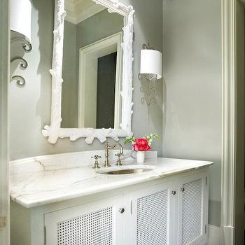 Melanie Turner Interiors - bathrooms - grey and white bathroom, white and grey bathroom, driftwood mirror, white driftwood mirror,  White & gray