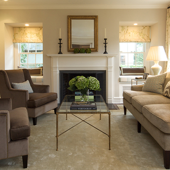 Brass Glass Coffee Table, Transitional, living room, Ken Gemes Interiors