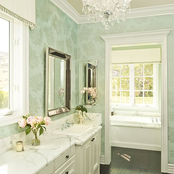 Alexandra Rae Interiors - bathrooms - wallpaper for bathrooms, bathroom wallpaper, beveled mirrors, valance, bathroom valance, calcutta marble, calcutta marble washstand, bathroom chandelier, separate bathing room, , Restoration Hardware Venetian Beaded Mirror, St. Lucia Wallpaper Metallic on Aqua,