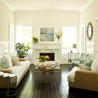 Orange Velvet Chair Transitional Living Room