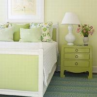 Phoebe Howard - girl's rooms - green bed, upholstered bed, green upholstered bed, upholstered green bed, green nightstand, bungalow 5 nightstand, green bungalow 5 nightstand, jacqui 3 drawer table, green jacqui 3 drawer table,