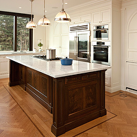 McGill Design Group - kitchens - herringbone, chevron, wood floors, espresso, kitchen island, white, carrara, marble, countertops, white, kitchen, cabinets, Restoration Hardware Clemson Pendant,