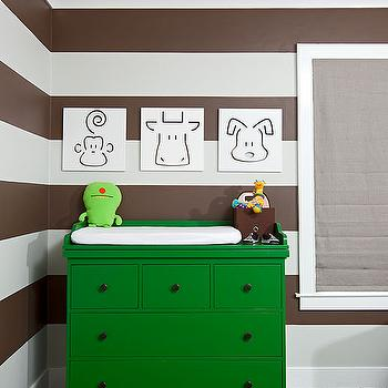 Melanie Morris Design - nurseries - green dresser, spot on square art, dresser as changing table, dresser used as changing table, green changing table, striped nursery, striped nursery walls, brown striped walls, brown striped nursery, brown striped nursery walls, white and brown striped walls, white and brown striped nursery, white and brown striped nursery walls,