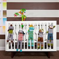 Feathered Nest Interiors - nurseries - nurseryworks crib, bla bla dolls, erin condren growth chart, white, brown, painted, walls, striped nursery, striped nursery walls, brown striped walls, brown striped nursery, brown striped nursery walls, white and brown striped walls, white and brown striped nursery, white and brown striped nursery walls, Bla Bla Dolls, Erin Condren Growth Chart,