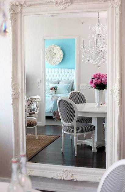 Baroque Floor Mirror Contemporary Dining Room The