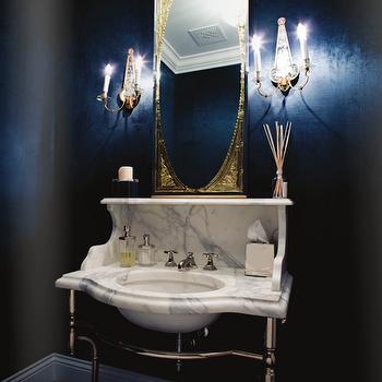Windsor Smith Home - bathrooms: calcutta marble, calcutta marble vanity, calcutta marble bathroom vanity, calcutta marble washstand, gold orante mirror, black walls,