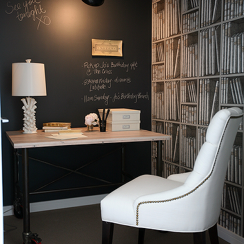 The Cross Decor & Design - dens/libraries/offices - chalkboard accent wall, chalkboard wall, office chalkboard wall, chalkboard wall in office, industrial desk, flatiron desk, bookcase wallpaper, martine chair, white tufted chair, wood top desk, wood topped desk, Restoration Hardware Martine Chair,