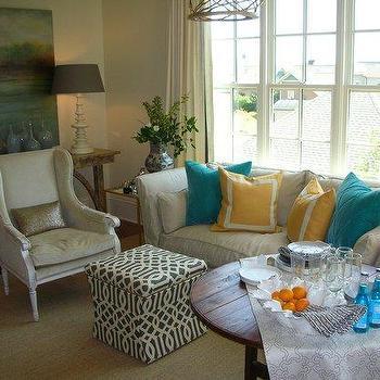 Trellis Ottoman, Transitional, living room, Summer House Style