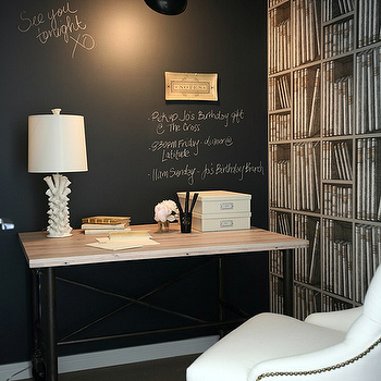 The Cross Decor & Design - dens/libraries/offices - chalkboard accent wall, chalkboard wall, office chalkboard wall, chalkboard wall in office, industrial desk, flatiron desk, bookcase wallpaper, martine chair, white tufted chair, Restoration Hardware Martine Chair,