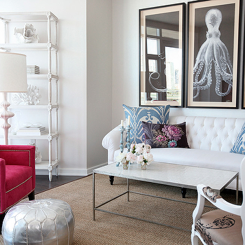 The Cross Decor & Design - living rooms - white sofa, chesterfield sofa, white chesterfield sofa, octopus art, octopus triptych, natural curiosities octopus, octopus art panels, white etagere, hot pink chair, hot pink wingback chair, Lord Bodner's Octopus Triptych,