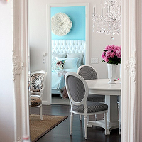 The Cross Decor & Design - dining rooms - white, ornate, floor mirror, white, round, pedestal, dining table, white, black, Louis, chairs, sisal, rug, crystal chandelier, gray, walls,