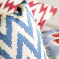 Pillows - Blue Zigzag Silk Ikat Pillow by peshte on Etsy - blue, zigzag, chevron, pillows