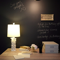 The Cross Decor &amp; Design - dens/libraries/offices - black, chalkboard, accent wall, white, lamp, faux, library, bookshelves, wallpaper, black wall, accent wall, black accent wall,