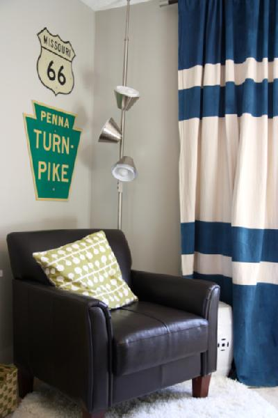 House Tweaking - boy's rooms - Valspar - Bonsai - stripe curtain, leather, chair, road sign, striped curtains, horizontal striped curtains, navy blue and white curtains, navy blue and white striped curtains, navy blue and white horizontal striped curtains,