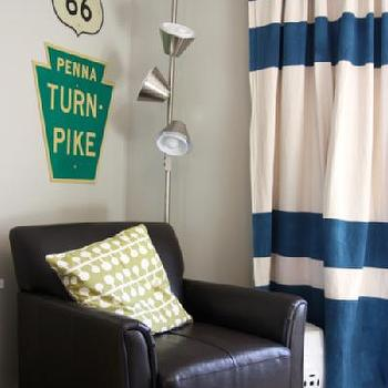 Navy Blue and White Horizontal Striped Curtains, Traditional, boy's room, Valspar Bonsai, House Tweaking
