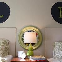 House Tweaking - boy's rooms - Valspar - Bonsai - shared kids, room, monogram art, green gourd lamp,  They wanted a car theme and their Mama