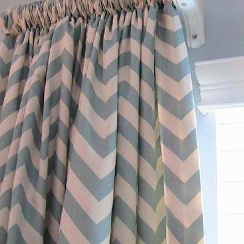 Window Treatments - Pair Of Decorative Designer Panels84 Inches LongChevron by nenavon - blue, chevron, zigzag, drapes