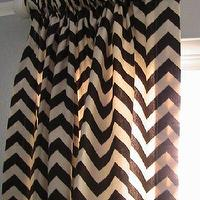 Window Treatments - SALEPair of Decorative Designer Rod Top Panels With by nenavon - brown, chevron, zigzag, drapes