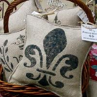 Pillows - Maison de Stencils PARIS Fleur de Lis by maisondestencils - burlap, Fleur de Lis, french, pillow