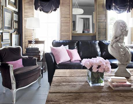 Country Living - living rooms - Benjamin Moore - Amherst Gray - black, leather, sofa, brown, velvet, bergere, chair, pink, velvet, pillows, rustic, wood, cocktail table, eclectic, art gallery, gilt, mirror, wood shutters,