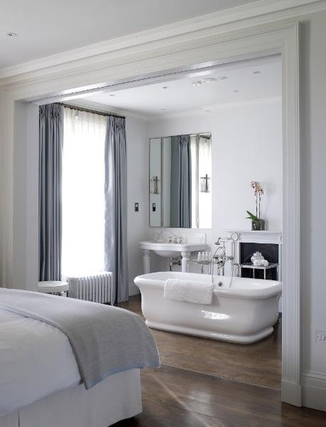 Master bedroom bathtub transitional bathroom for Bedroom and bathroom ideas