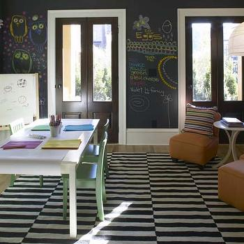 Westbrook Interiors - boy's rooms - chalkboard walls, playroom, play room, playroom chalkboard walls, ikea rug, black and white rug, black and white striped rug, stockholm rand rug, kids playroom, orange slipper chairs,
