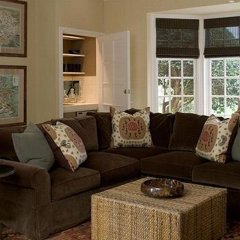 Brown Velvet Sectional, Cottage, living room, Phoebe Howard