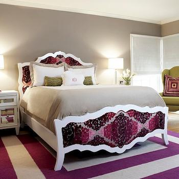 Nest Interior Design - bedrooms - french bed, upholstered bed, french upholstered bed, damask headboard, magenta headboard, mirrored nightstands, white mirrored nightstands, purple rug, purple borders rug, gray walls, Z Gallerie Concerto Nightstand,