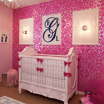 Little Crown Interiors - nurseries - metallic wallpaper, pink metallic wallpaper, metallic pink wallpaper, pink nursery, pink nursery ideas, White & Hot Pink Crib Bedding Set,