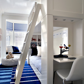 Peter Pennoyer Architects - boy's rooms - bunk beds, built in bunk beds, white bunk beds, white built in bunk beds, striped blue rug, blue rug, built in desk, bunk bed desk, kids desk, kids built in desk,