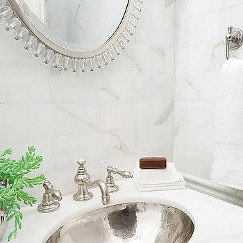 Erik Goldstein Photography - bathrooms - hammered silver sink, hammered metal sink, calcutta marble, calcutta marble countertops, oval sink, oval bathroom sink, hammered oval sink,