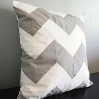 Pillows - CHEVRON Stripe Pillow Cover Gray Any Size ANY by decoYellow - gray, chevron, zigzag, pillow
