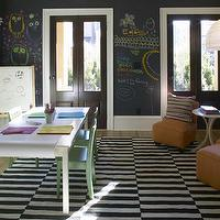 Westbrook Interiors - boy&#039;s rooms - black, chalkboard, walls, gray, silk, roman shades, green, chairs, white, table, orange, slipper chairs, ottomans, whimsical, play room,