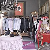 Country Living - closets - Benjamin Moore - Amherst Gray - gray, walls, pink, ottoman, pink, red, Union Jack, rug, iron, crystal, chandelier, red, vintage, chest,