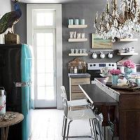 Country Living - kitchens - Benjamin Moore - Amherst Gray - gray, walls, turquoise, blue, vintage, refrigerator, rustic, kitchen island, floating, shelves, turquoise and gray kitchen, gray and turquoise kitchen,