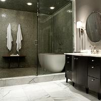 Nest Interior Design - bathrooms - green, glass, tiles, shower surround, modern, tub, espresso, bathroom, vanity, calcutta, marble, tiles, floor, countertop, round, pivot, mirror,