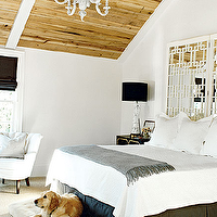 My Home Ideas - bedrooms - dorothy draper, dorothy draper chest, dorothy draper nightstand, mirrored headboard, mirrors as headboard, mirrors used as headboard, white mirrored headboard, chinese figurine lamp, chinese figurine table lamp, gray blanket, gray throw, gray bed skirt,