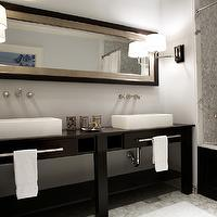 Nest Interior Design - bathrooms - white, carrara, hexagon, marble, tiles, shower surround, espresso, bathroom, vanity, double sinks, white, porcelain, overmount, sinks, sconces, mirror,