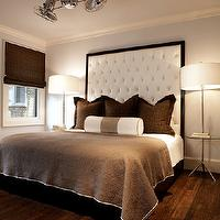 Nest Interior Design - bedrooms - wood, tall, white, tufted, headboard, brown, roman shade, pillows, white, taupe, silk, bolster, pillow, dual, ceiling fans, chandelier, tall headboard, tall white headboard, tall tufted headboard, big headboard, Jonathan Adler Meurice Table Floor Lamp,