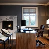 Nest Interior Design - dens/libraries/offices - blue, walls, gray, silk, roman shades, calcutta, marble, modern, fireplace, chocolate brown, blue, chairs, zebra wood, desk, console, white, lamp, turquoise, accents,