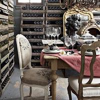Country Living - bathrooms - wine cellar, gilt, ornate, mirror, flour sack, upholstered, chairs, wine racks, chandelier,  Elizabeth Carney -