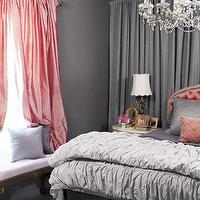 Country Living - bedrooms - Benjamin Moore - Amherst Gray - gray, walls, salmon pink, silk, drapes, gray, pintuck, bedding, salmon pink, tufted, headboard, gray bedroom, gray bedrooms, gray walls, gray pinat colors, gray bedroom walls,