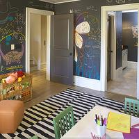 Westbrook Interiors - boy&#039;s rooms - black, chalkboard, paint, walls, white, black, striped, rug, orange, ottomans, white, desk, green, chairs, woven, toy bin,