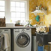 laundry/mud rooms - yellow, wallpaper, white, washer, dryer, industrial, laundry sink, laundry room, yellow laundry room, Farrow & Ball The Ringwold Papers Wallpaper,