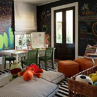 Westbrook Interiors - boy's rooms - black, chalkboard, paint, walls, gray, silk, roman shades, white, black, striped, rug, orange, ottomans, white, black, ticking, striped, floor cushions, white, desk, green, chairs, whimsical, fun playroom, play room, Ikea Stockholm Rand Rug,